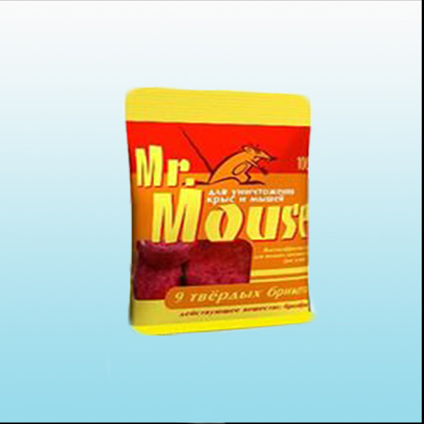 9 твёрдых брикетов Тесто-брикет от грызунов приманка MR. MOUSE 100 гр